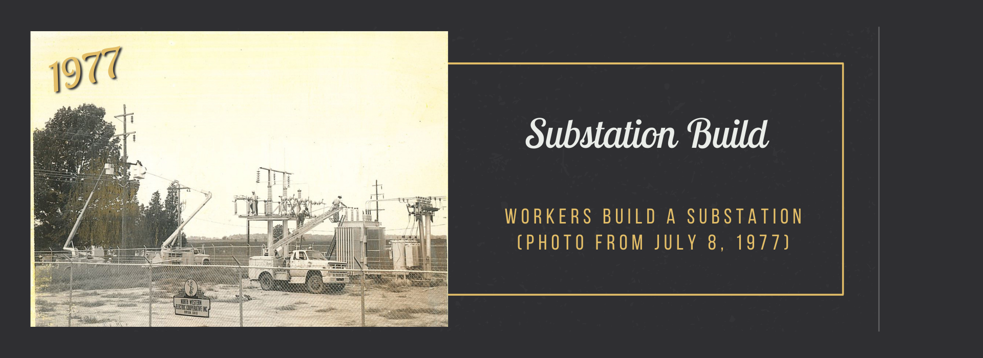 Workers build a substation (photo from July 8, 1977)