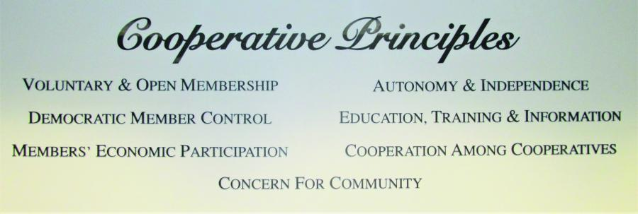 The seven cooperative principles display on the board room wall